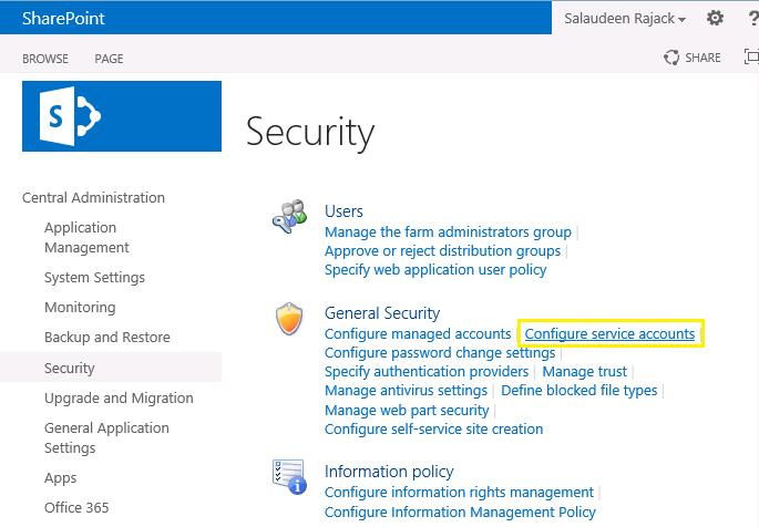 how to change sharepoint 2013 service account