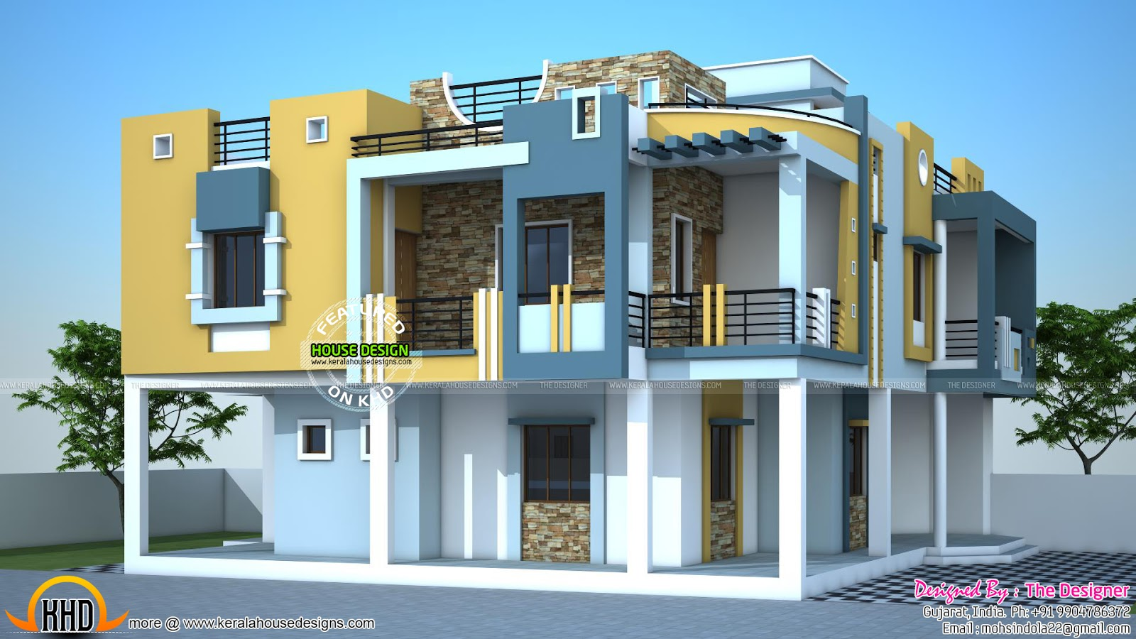 Modern duplex house in india kerala home design and for Home front design in indian style
