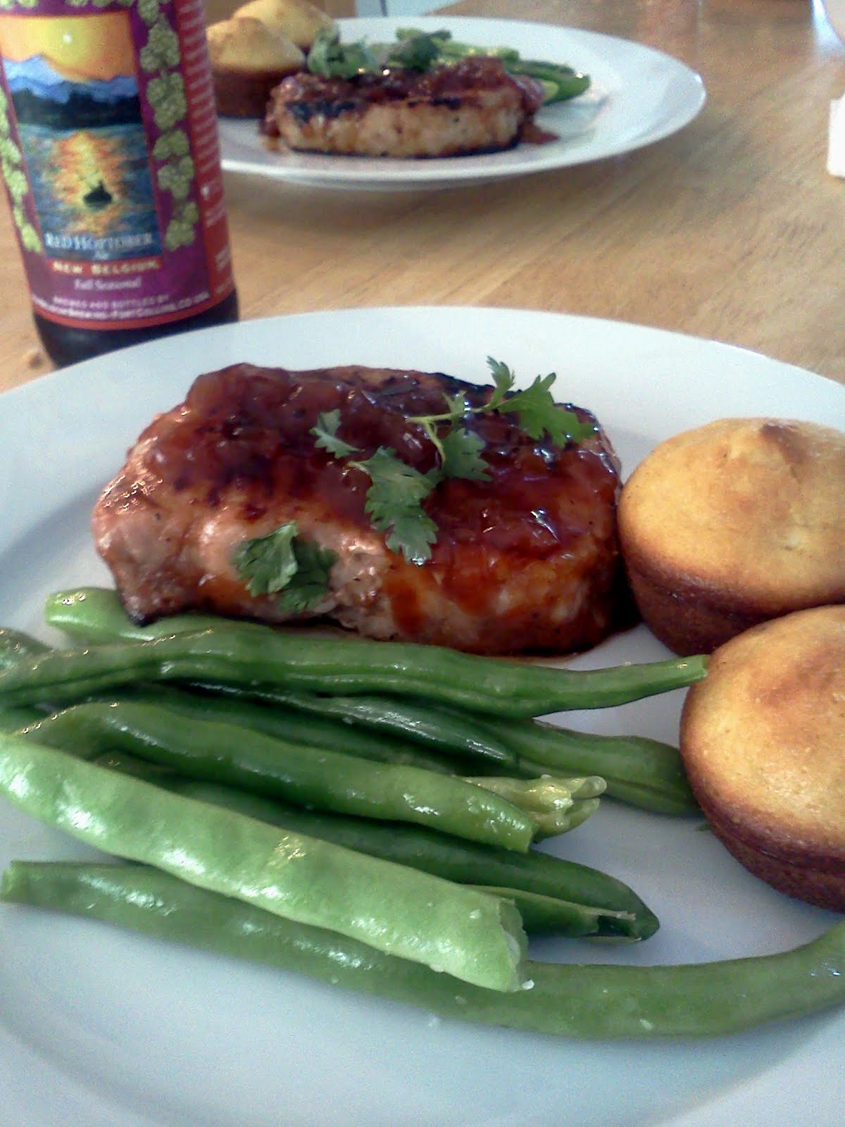 Mr. Finicky: pork chop and tomato-onion chutney