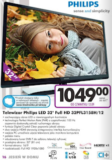 Telewizor Philips 32PFL3158H z Biedronki ulotka
