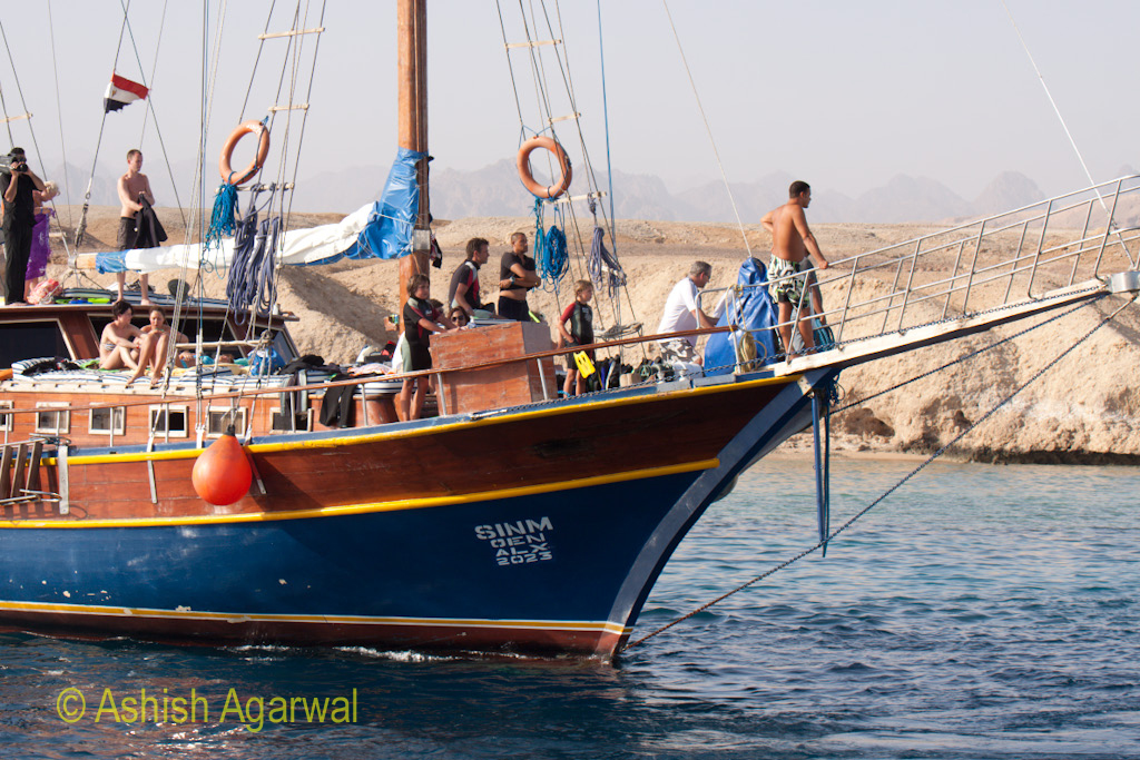 Tourists and locals on a colorful boat at Sharm el Sheikh in Egypt
