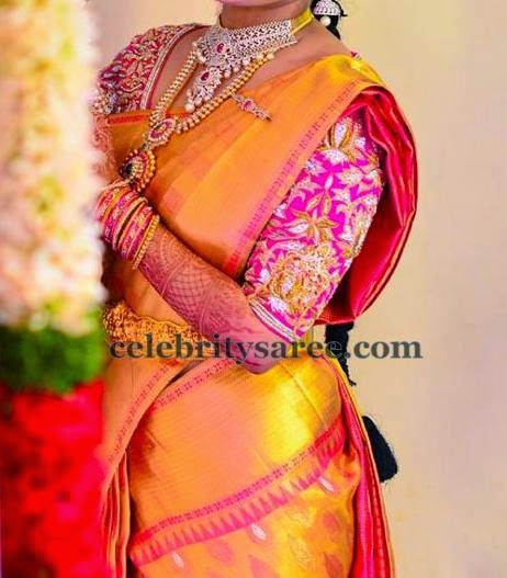 Bride in Gold Saree Heavy Blouse