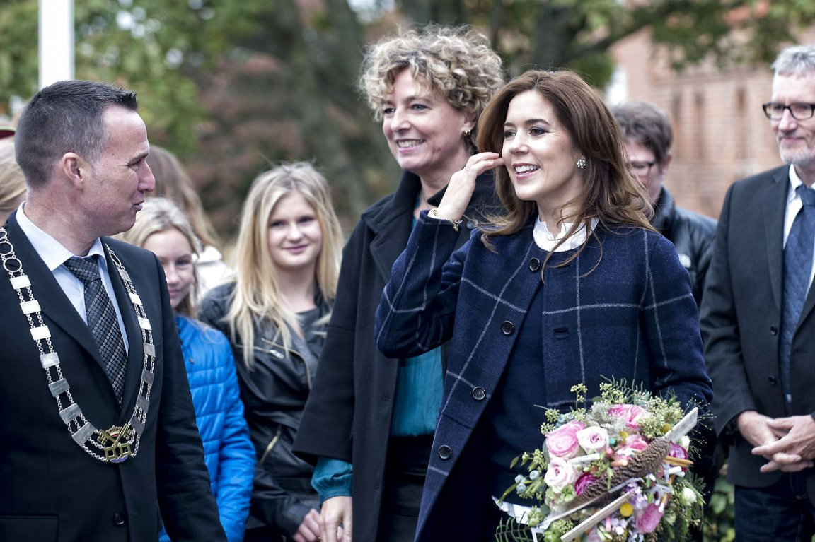 Crown Princess Mary participated in the morning walk at Lille Næstved School in Naestved.