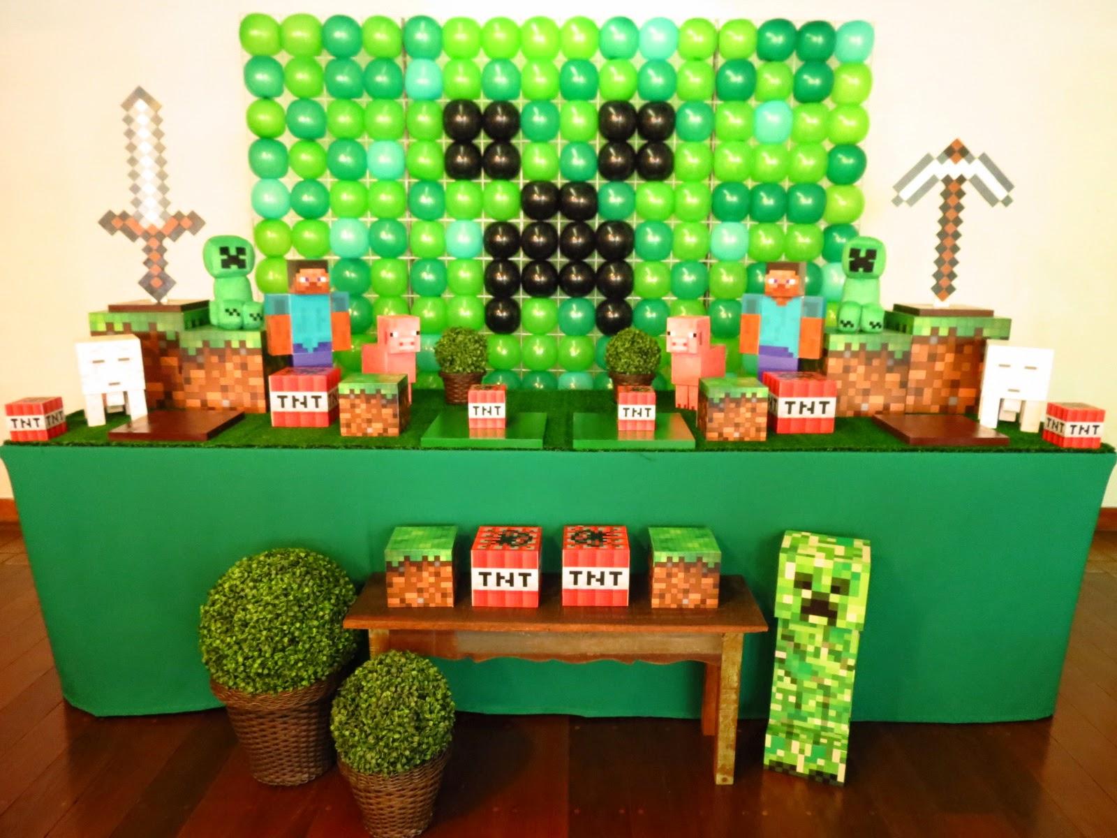 Farolita Decoração de Festas Infantis MINECRAFT -> Decoracao De Banheiro No Minecraft