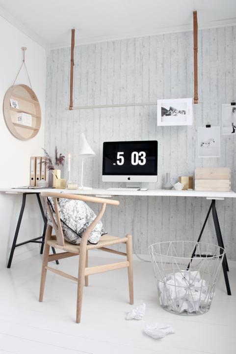 Un rincón de trabajo en casa de estilo nórdico