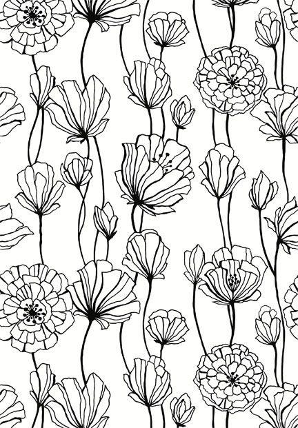 Flora Vine black and white floral print