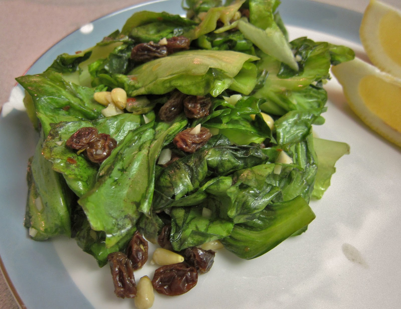 The Vegan Chronicle: Sauteed Escarole with Pine Nuts and Raisins