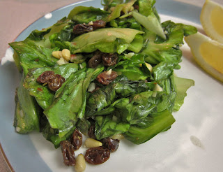 Sauteed Escarole with Pine Nuts and Raisins