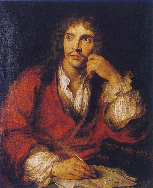 Molière en la parte de César en La muerte de Pompeo, por Nicolas Mignard (1658).