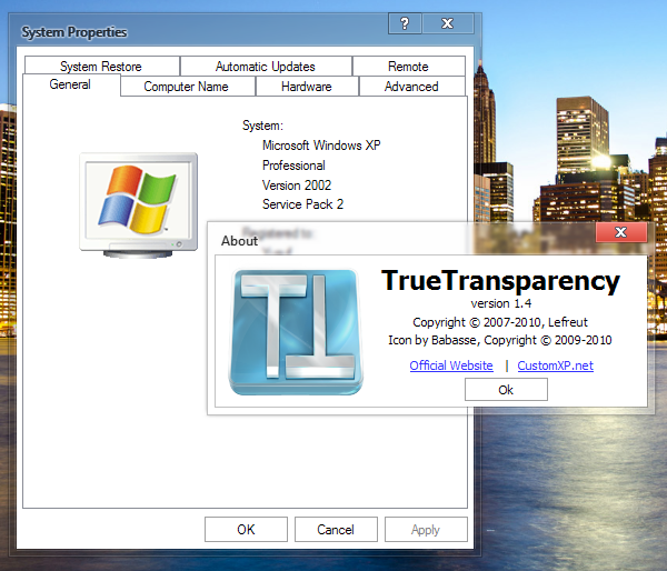 TrueTransparency Bonus Full Skins - Software Pembangkit Aero Dengan Berbagai Macam Tema