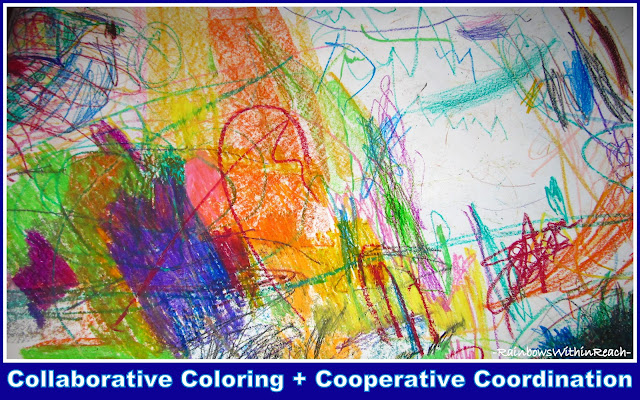 photo of: An Easel full of Collaborative Coloring for Young Children