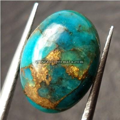 Batu Permata Pirus Turqoise Urat Emas