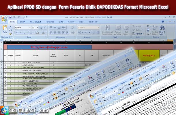 Aplikasi PPDB SD dengan Form Peserta Didik DAPODIKDAS Format Microsoft Excel