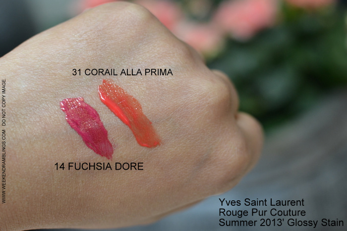 YSL Summer 2013 Makeup Collection Rouge Pur Couture Glossy Stain - Swatches - 14 Fuchsia Dore - 31 Corail Alla Prima