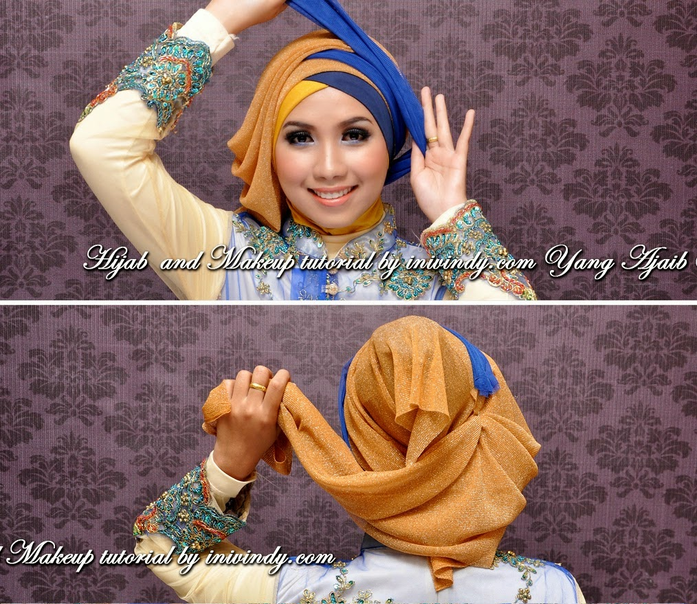 Jilbab Kebaya Wisuda Dua Warna Silang Tumpuk Dengan Kreasi Jilbab