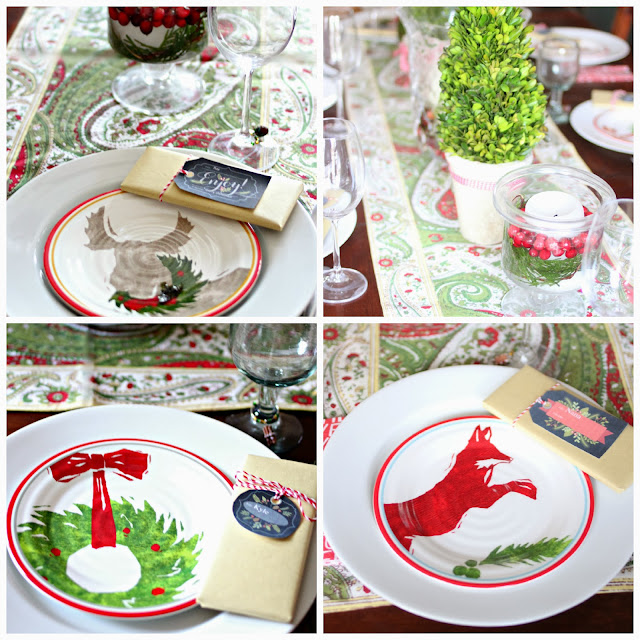 Table scape with preserved boxwood topiaries and Target Christmas plates-www.goldenboysandme.com