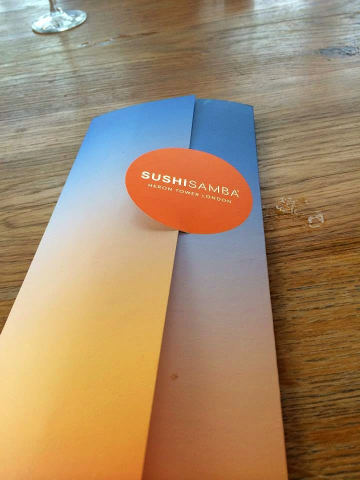 SushiSamba Menu in Heron Tower London