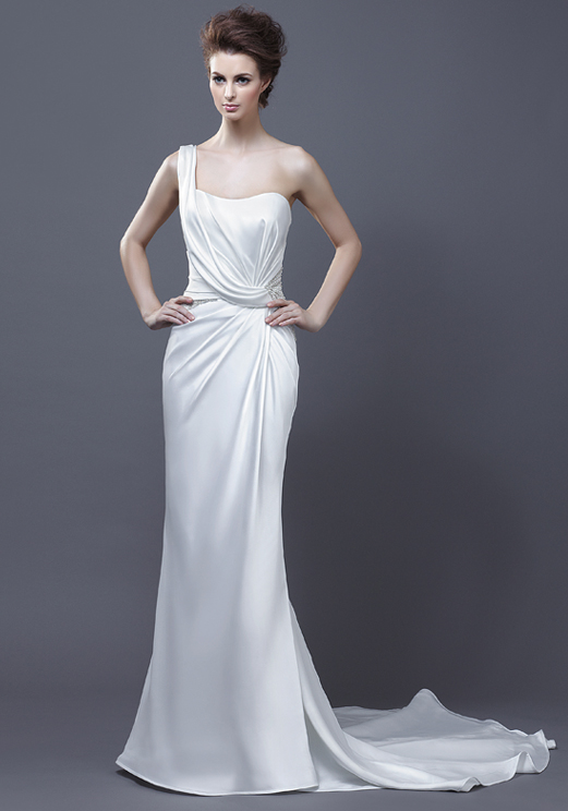 Silk Satin One Shoulder Destination Beach Wedding Dress