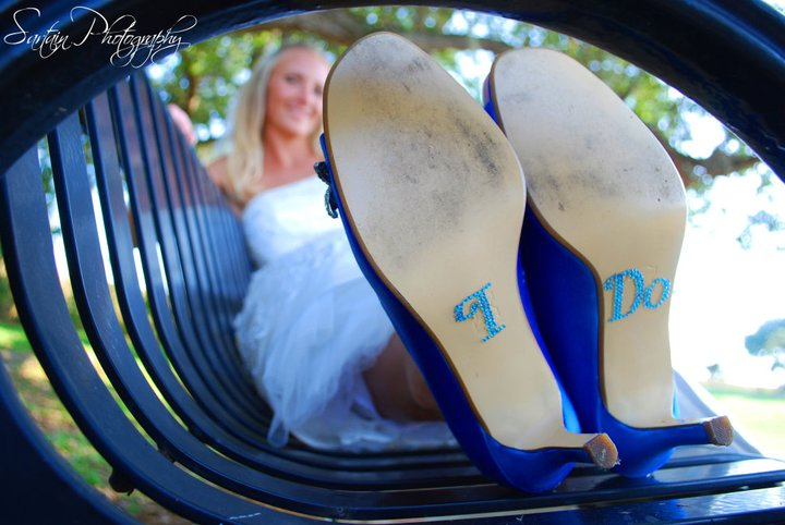 Blue Wedding Shoes Photos by Sartain Photography