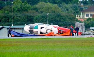 Helikopter Hishammuddin terbalik