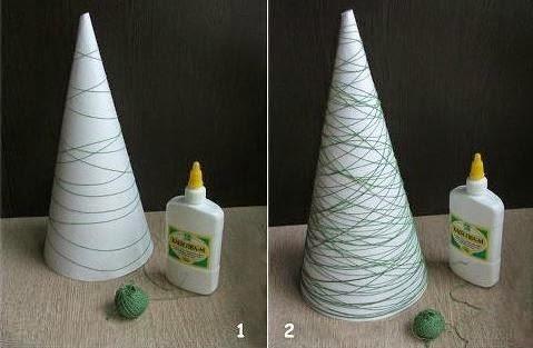 Árvore de Natal de Barbante endurecido como fazer