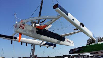 Le nouvel Idec Sport prend ses nouvelles couleurs avant le Jules Verne 2015.
