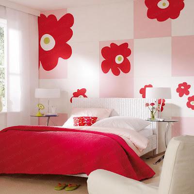 habitación rojo blanco para niña