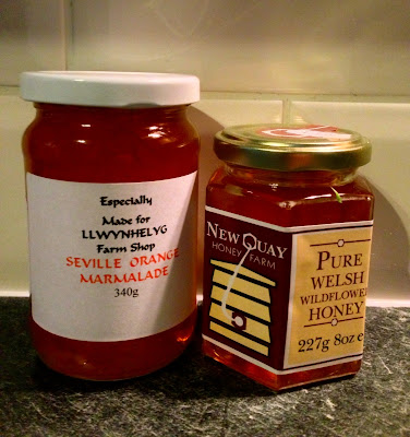 Llwynhelyg Marmalade and New Quay Honey Farm Widlflower Honey