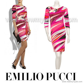 Crown Princess Victoria Style EMILIO PUCCI Printed Jersey Dress