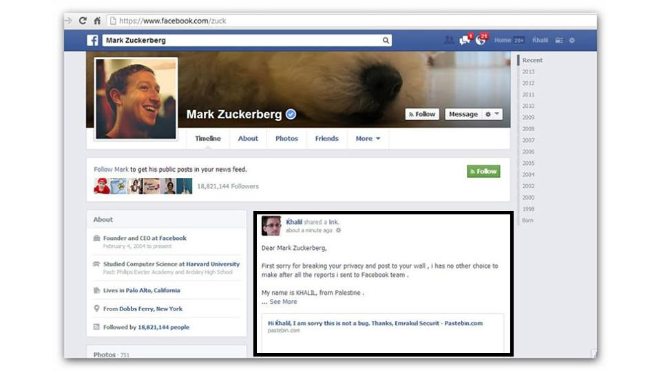 Facebook CEO wall hacked