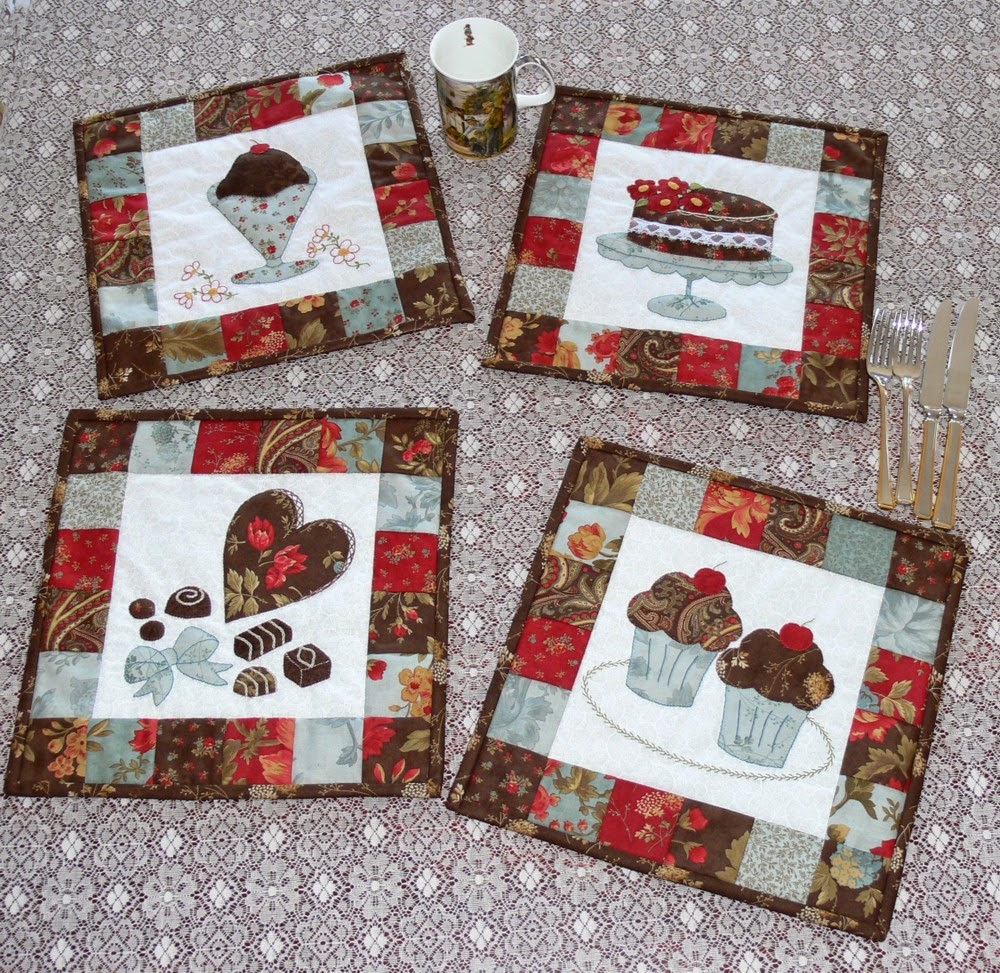 Applique designs for tablecloth - These Delightful Placemats Feature Four Forms Of Chocolate All Portrayed With Applique And Sweet Stitching Each Mat Measures 32 Cm 12 Inch