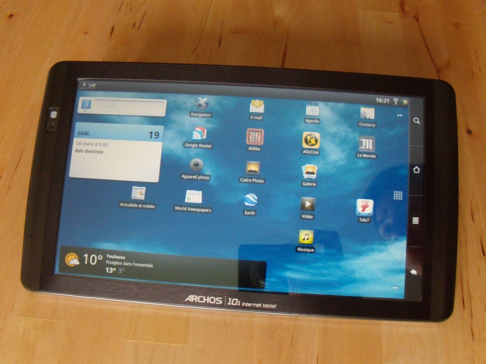 le blog de l 39 avenir test de la tablette archos 101 internet tablet. Black Bedroom Furniture Sets. Home Design Ideas