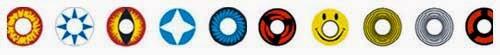 lentillas con distintos colores y dibujos