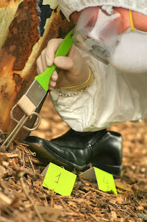 A crime scene investigator works at a crime scene.