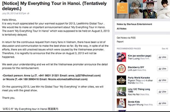 Bất cập quanh show Lee Min Ho hoãn vô thời hạn 1