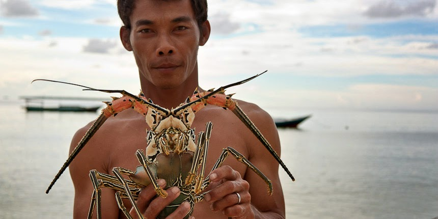 fisherman with a lobster on Derawan Island, East Kalimantan, Indonesia