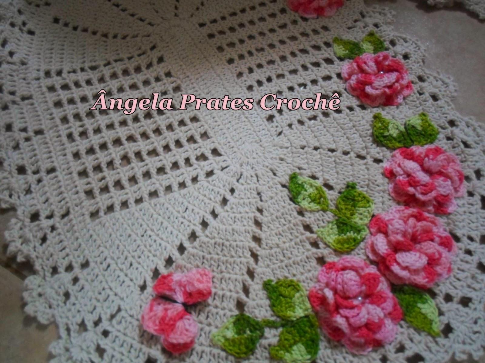 Famosos Ângela Prates Croche: Jogo de banheiro flor viciadas em crochê rosa IV49