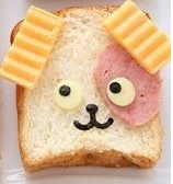 photo of sandwich styled to look like dog
