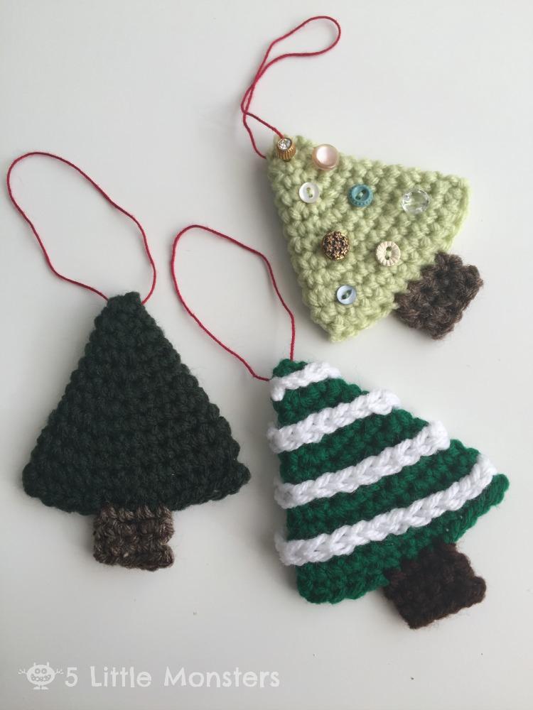 crocheted Christmas trees ornaments
