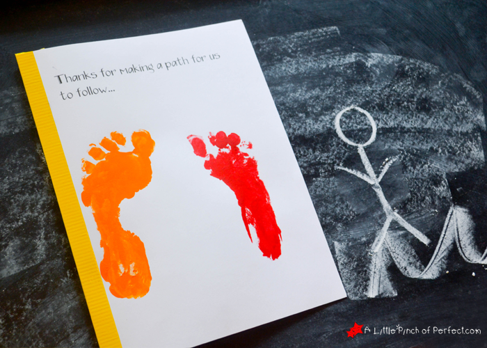 handprint and footprint father s day card thanks for holding my hand