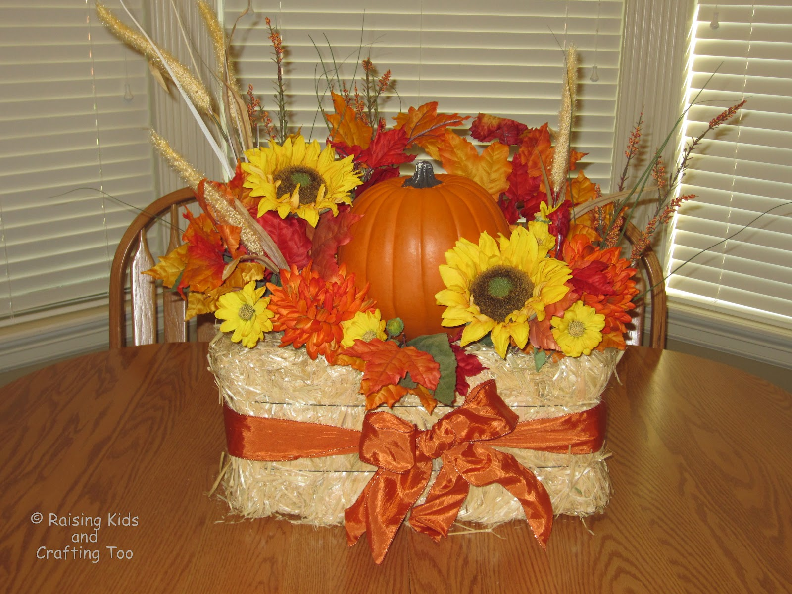 Raising kids and crafting too decorative fall hay bale for Decorative flowers for crafts