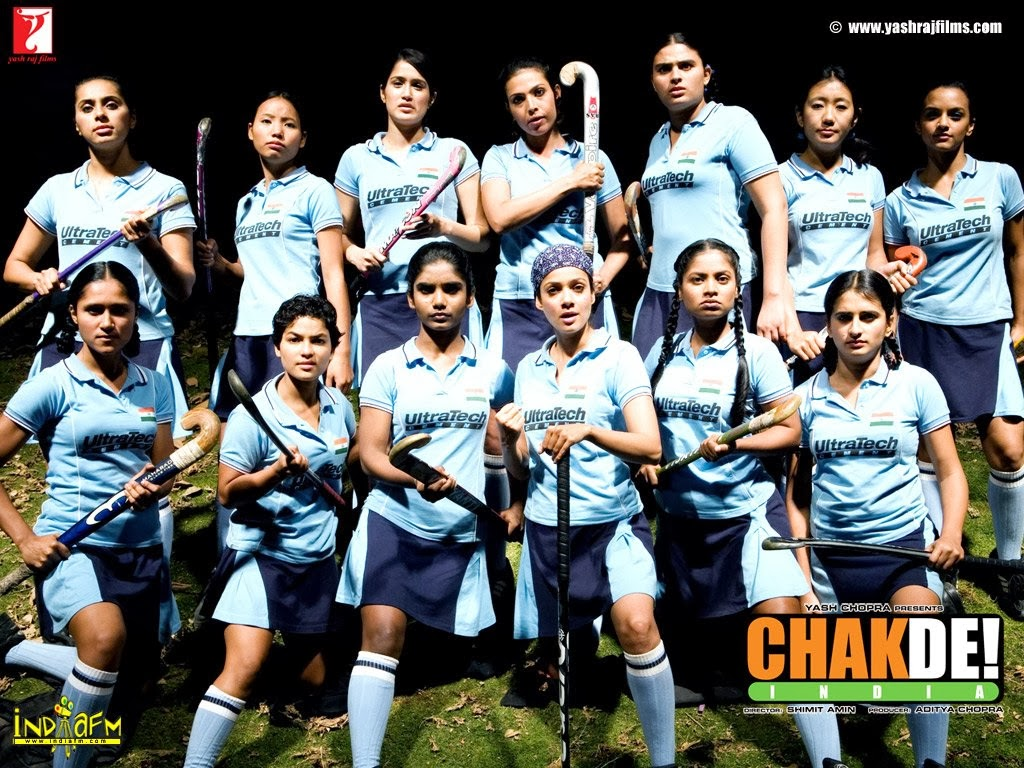 Indian women's hockey team with Ultra Tech t-shirt in Chak De