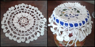 Crochet Patterns Jar Lids : Jar Lid Cover Turned Doily