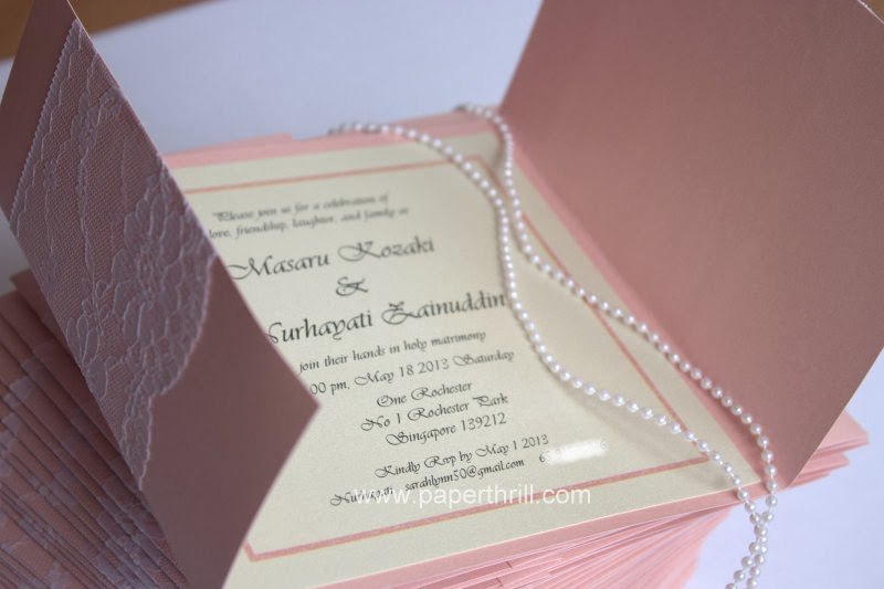 tri fold lace wedding invitation card