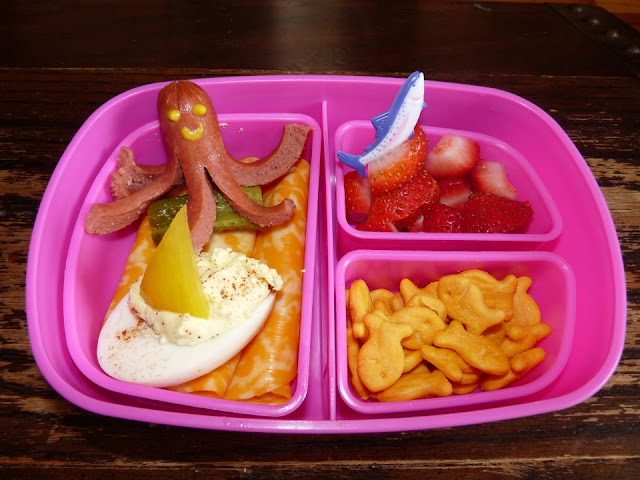 hot dog octopus deviled egg boat  bento