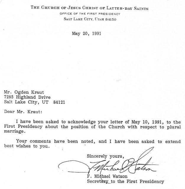 First Presidency Letter December