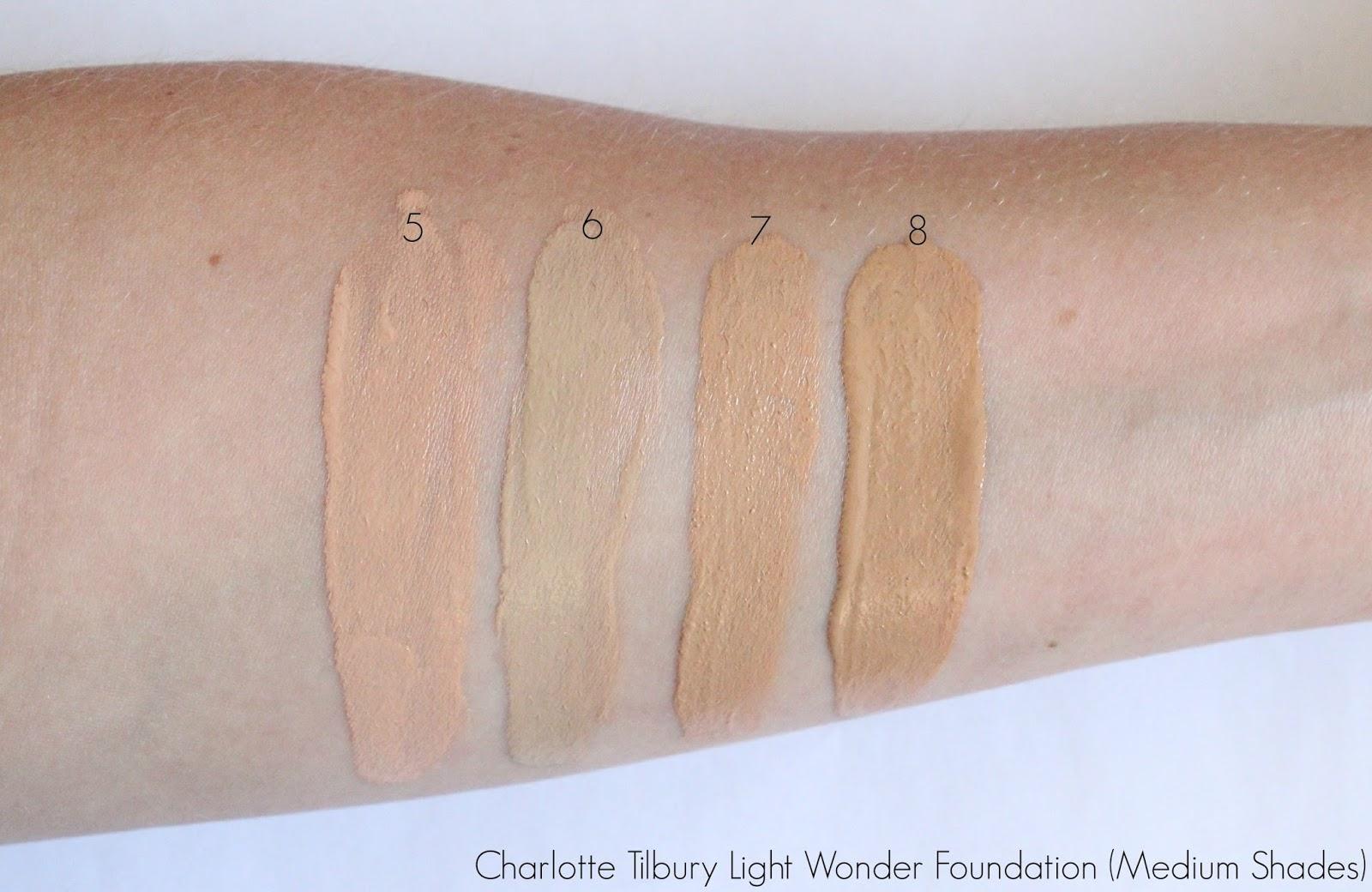 Charlotte Tilbury Light Wonder Foundation Swatches Medium 5, 6, 7, ...