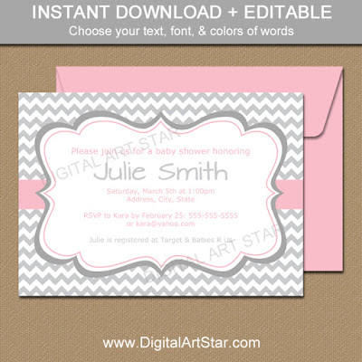 printable gray chevron baby shower invitation download