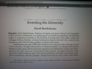 inventing the university by david bartholomae David bartholomae's essay inventing the clay model after rereading inventing the university over and over again.
