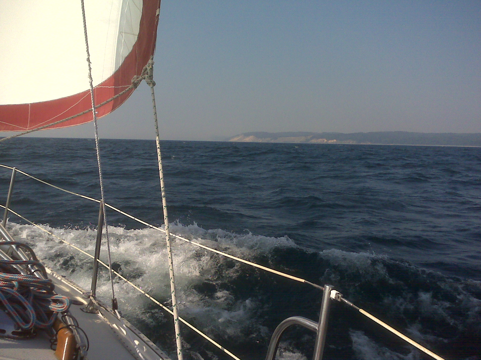 Sunday, 4:40 PM: Blue (our cruising spinnaker) was pulling us along nicely ...